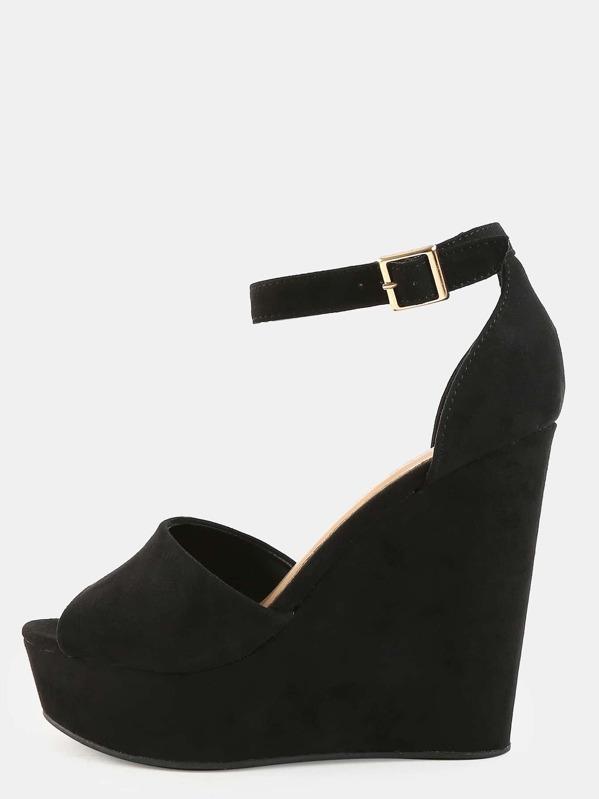 821e08fcc21a59 Faux Suede Ankle Strap Wedges BLACK -SHEIN(SHEINSIDE)