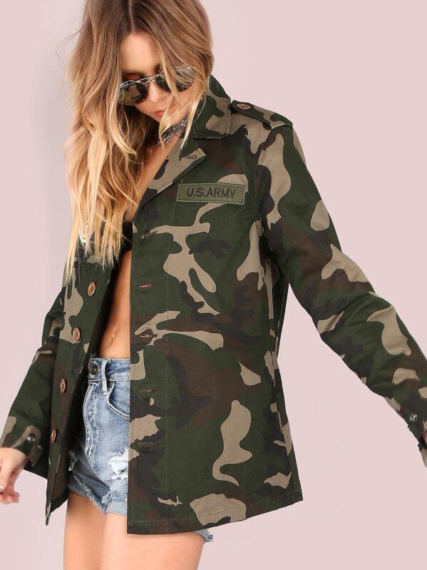 Lightweight Camo Patch Button Down Jacket Camouflage Shein