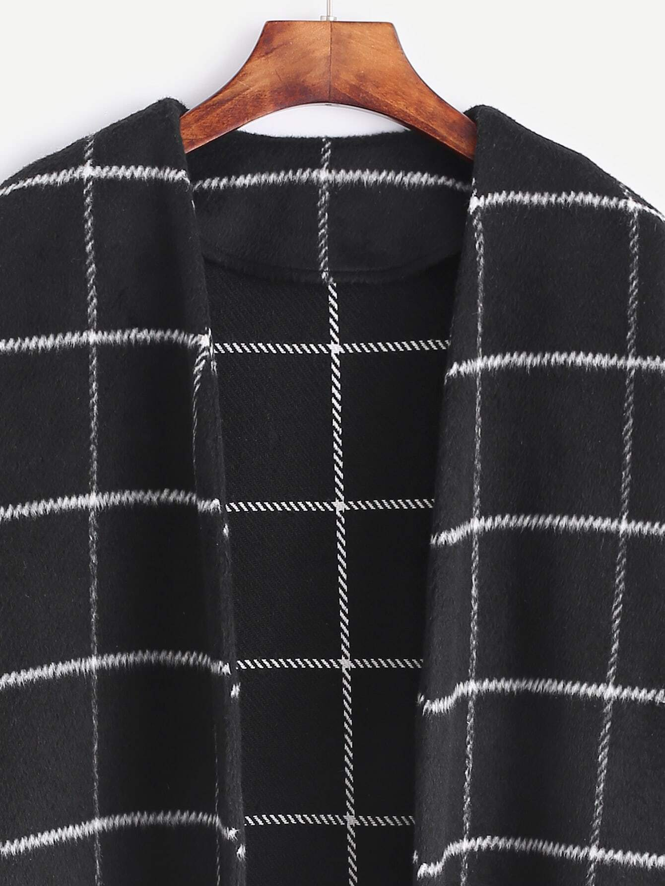 Black Grid Collarless Open Front Coat With Pocket