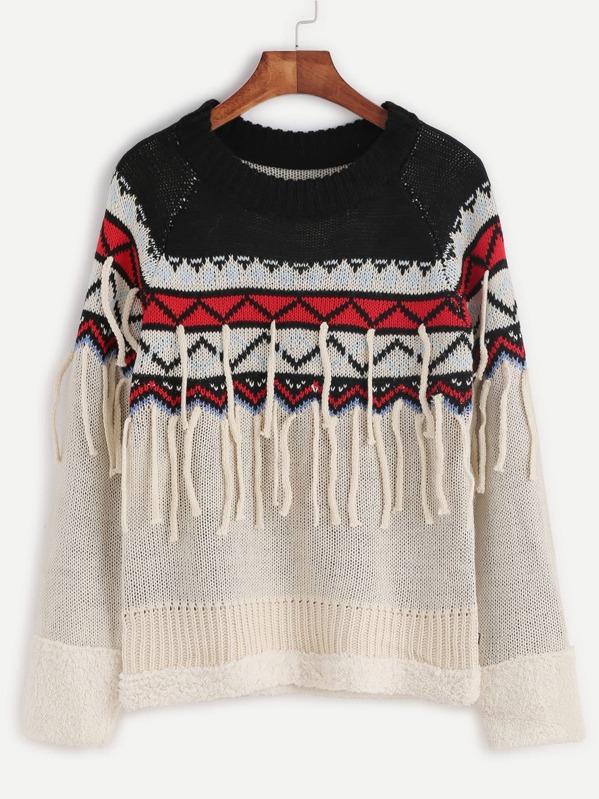 d98c4b77c08a91 Color Block Geo Pattern Fringe Sweater -SheIn(Sheinside)