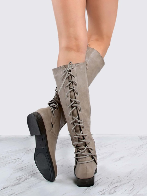 b962c2843d Lace Back Riding Boots TAUPE   SHEIN