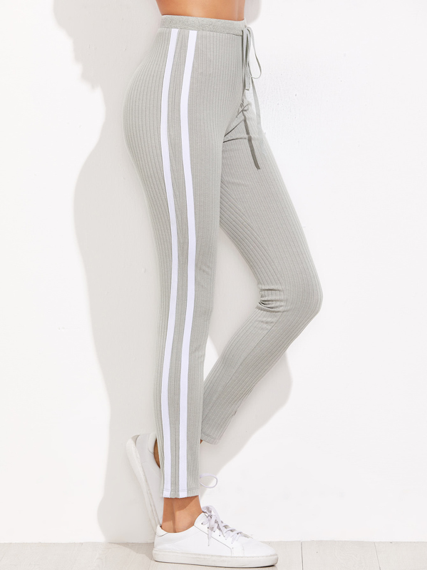 a704df6b18 Striped Sideseam Ribbed Knit Sweatpants | SHEIN