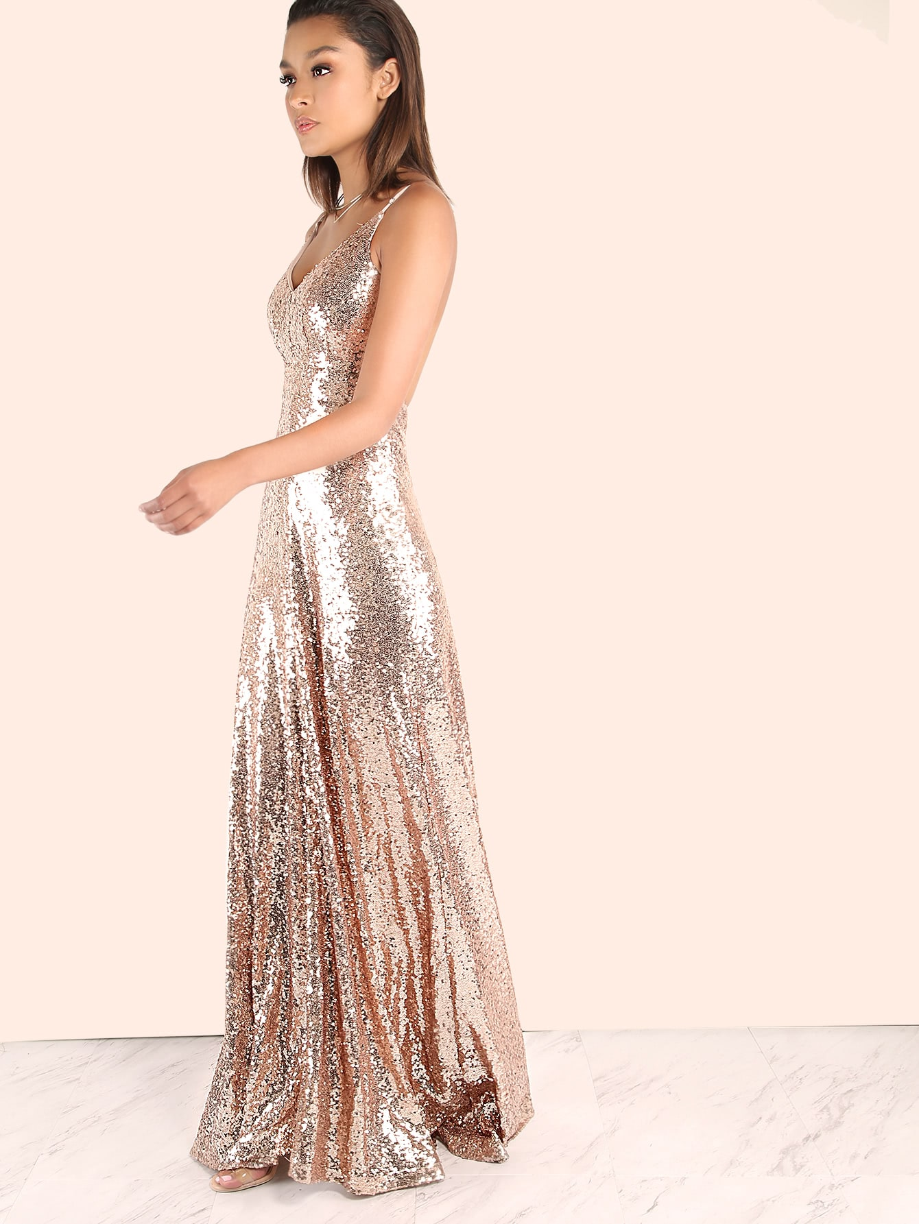 a079c2b3 Backless Sequin Cami Maxi Prom Dress | SHEIN UK