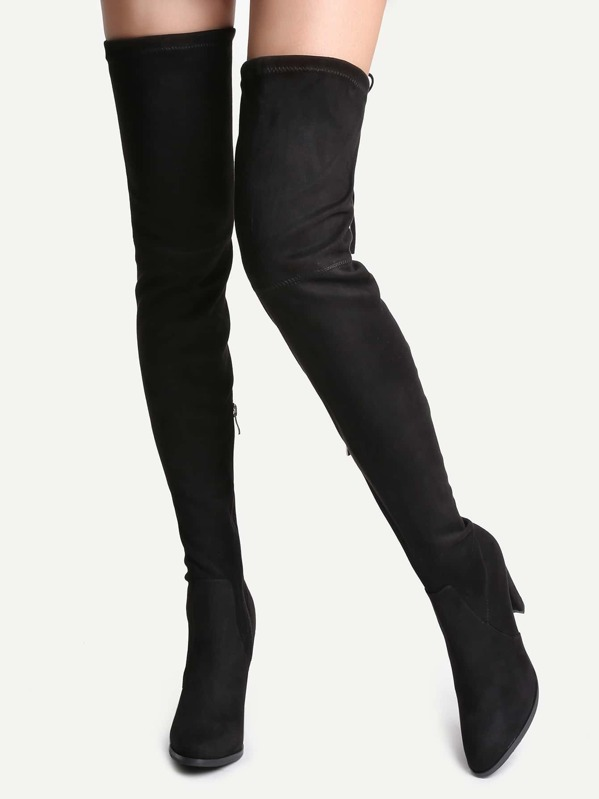 fcdbea69786 Black Faux Suede Tie Back Over The Knee Boots