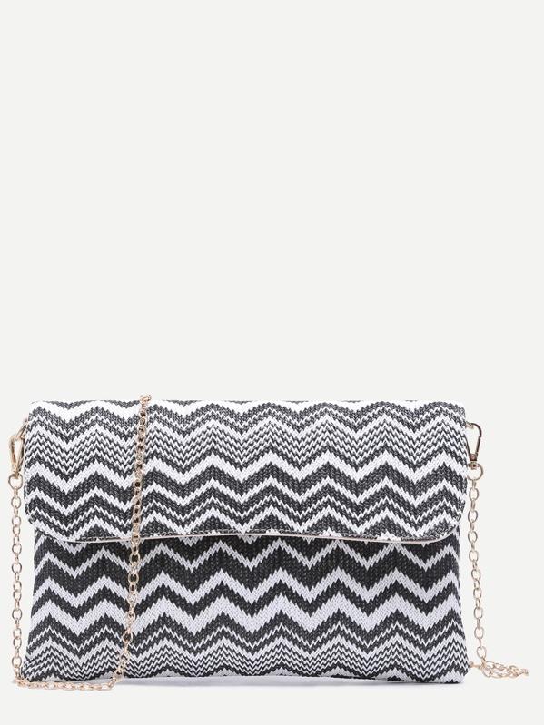 f89462ecda7b Black and White Chevron Straw Flap Chain Bag -SheIn(Sheinside)
