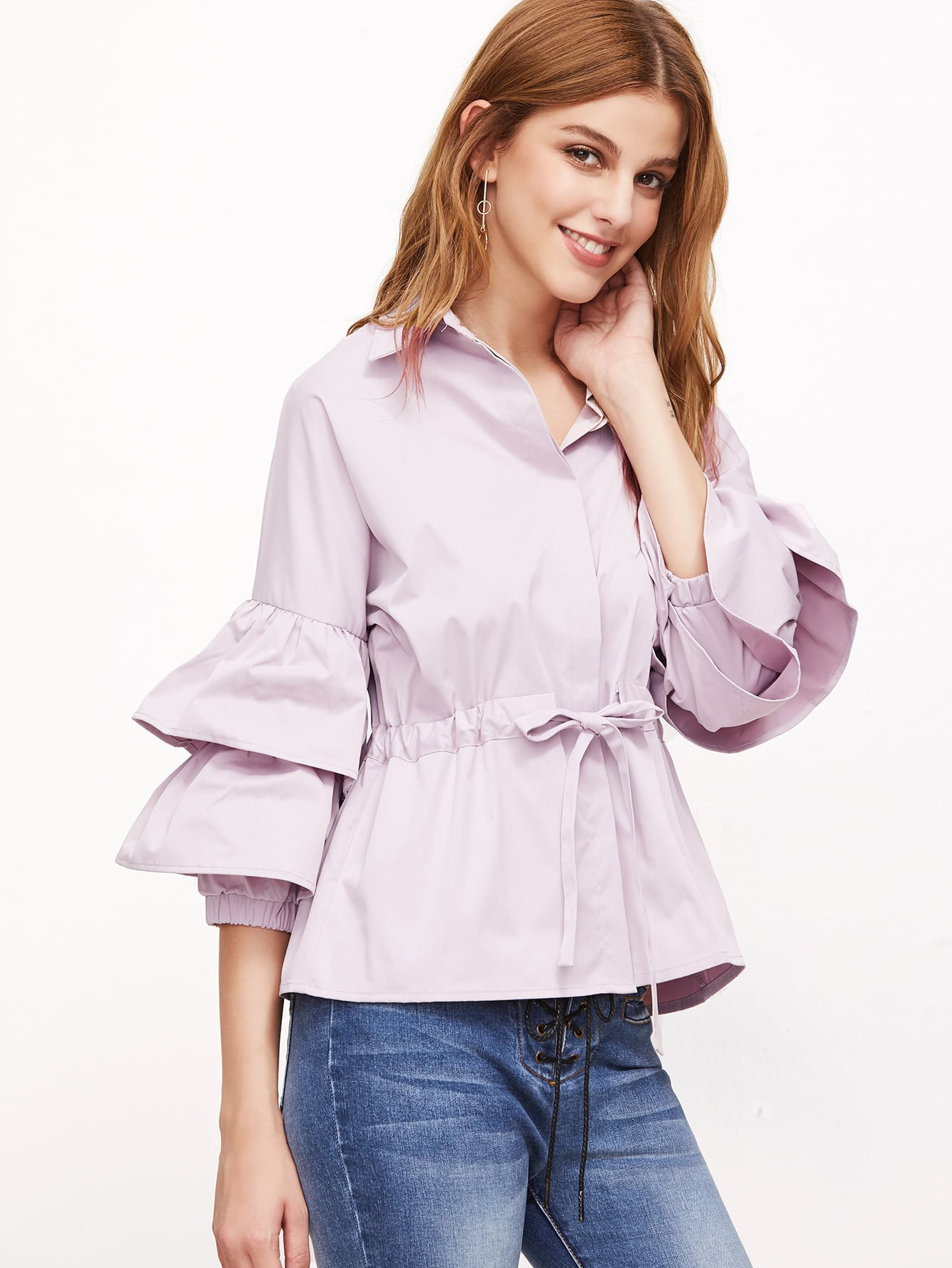 Pink Layered Bell Sleeve Drawstring Waist Blouse