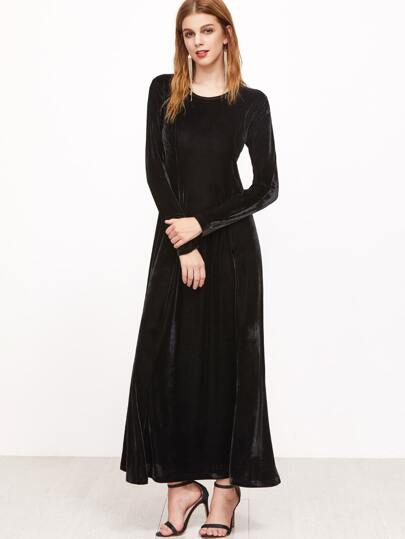 outlet store 644d8 69cbe A-Linie Samt Kleid langarm-schwarz