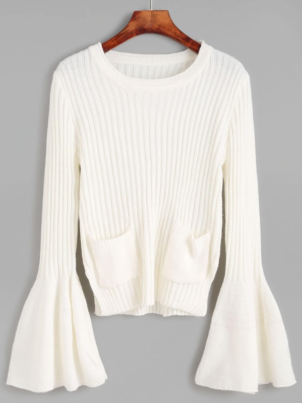 a026c360c8 White Ribbed Knit Dual Pocket Front Bell Cuff Sweater -SheIn(Sheinside)