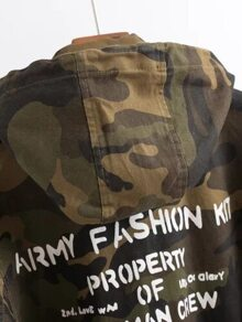 28212b92208dd Army Green Letter Print Camouflage Hooded Coat | SHEIN