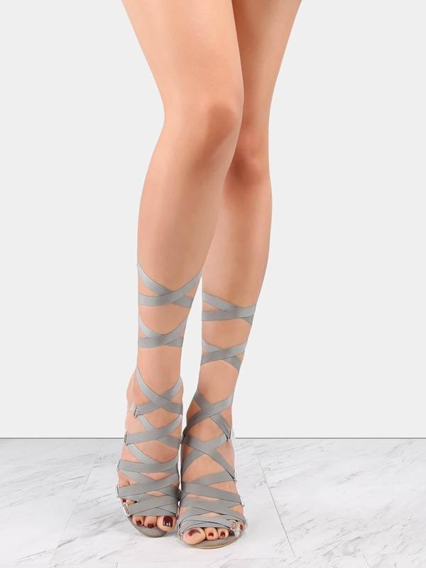 Flat Ribbon Transparent Lace Up Heels GRAY SheInSheinside