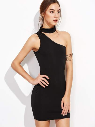 One Shoulder Choker Bodycon Dress -SheIn(Sheinside) 70d7e0962be3
