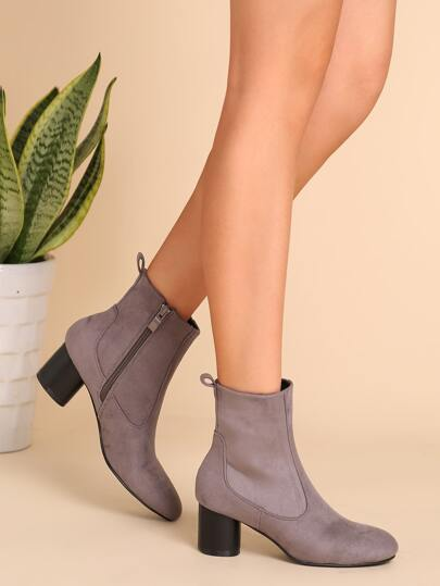 Grey Faux Suede Almond Toe Chunky Heel Short Boots -SheIn(Sheinside)