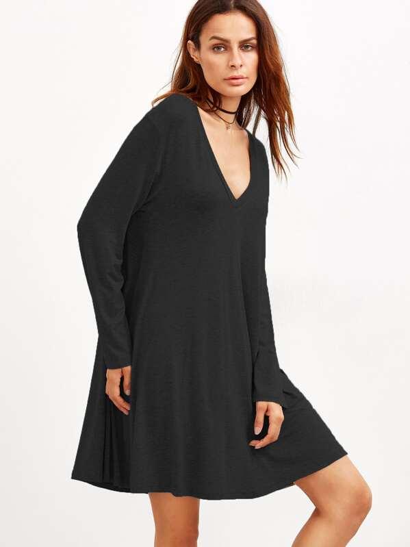 a9a65aa42d Black Deep V Neck Shift Dress -SheIn(Sheinside)