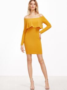 4662ca920d7d Yellow Off The Shoulder Ruffle Bodycon Dress