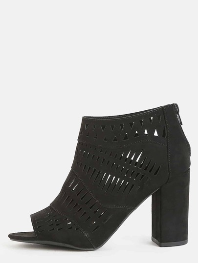 Peep Toe Tribal Ankle Boots BLACK