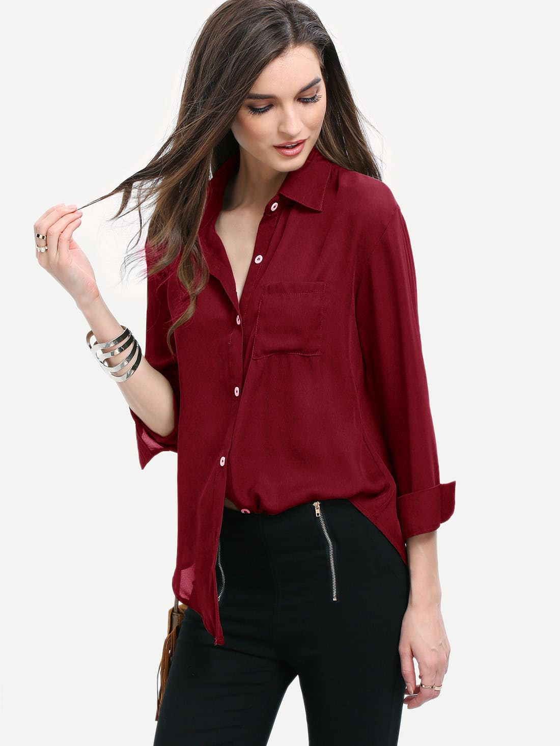 Curved Hem Pocket Shirt Curved Hem Pocket Shirt