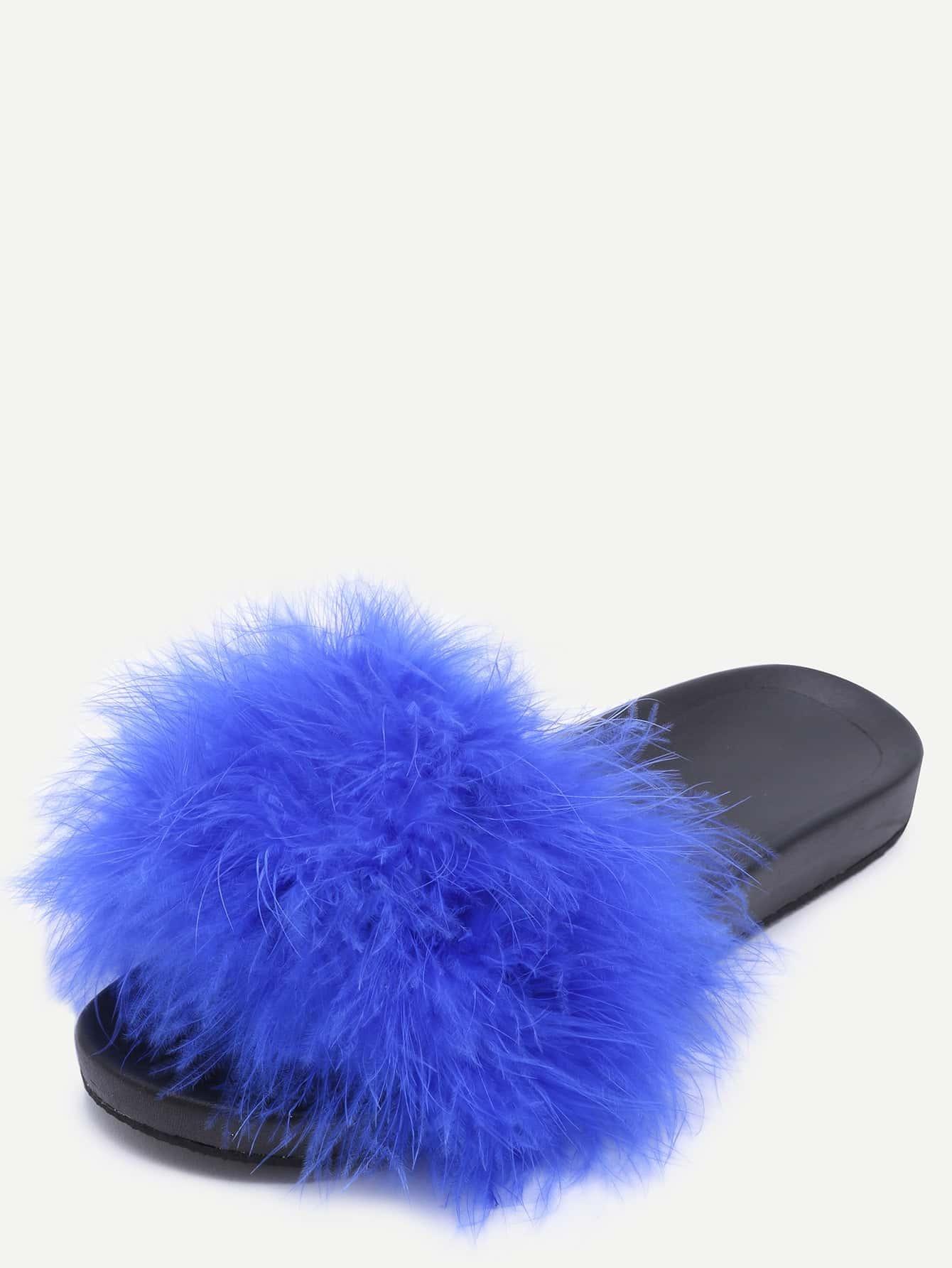 Blue Open Toe Faux Fur Slippers