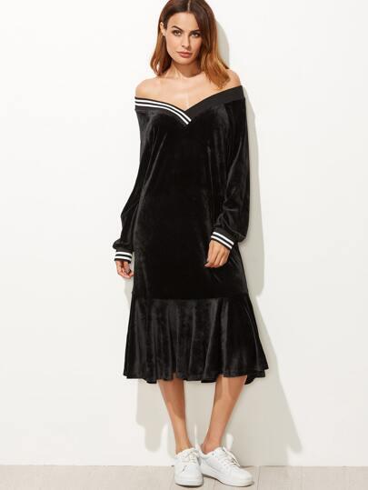 Black V Neck Striped Trim Ruffle Hem Velvet Dress
