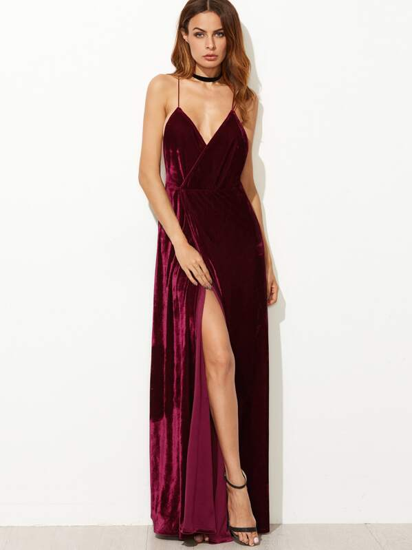 008a8d3608 Strappy Back High Split Surplice Velvet Dress | SHEIN IN