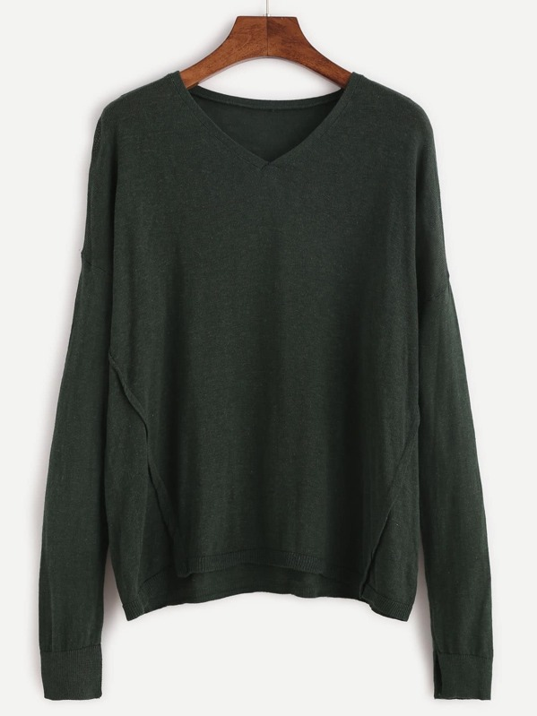a3a2fddd2a Cheap Dark Green V Neck High Low Knit T-shirt for sale Australia   SHEIN