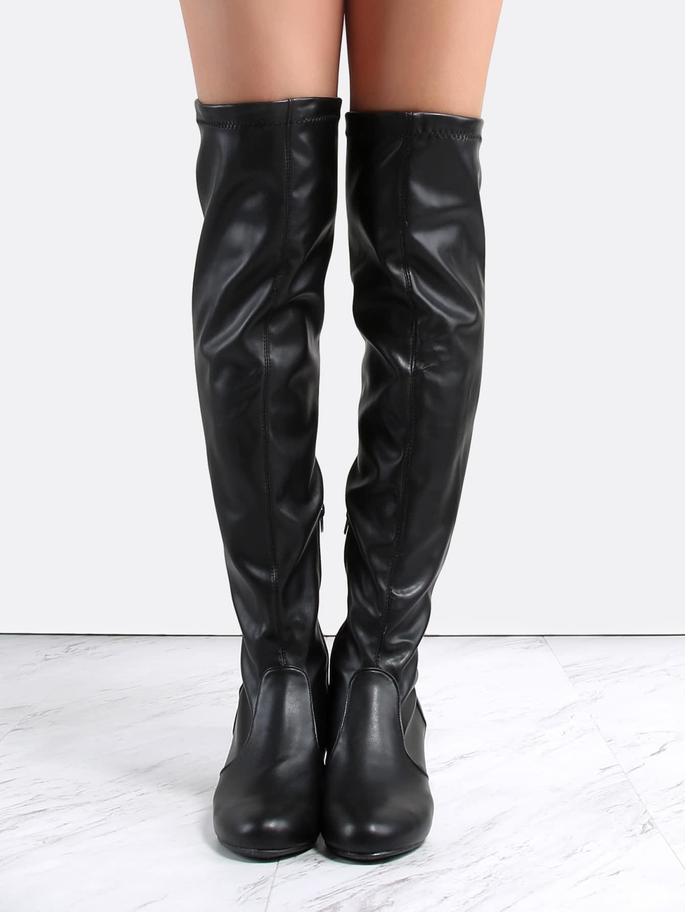 leather block heel knee boots black shein sheinside
