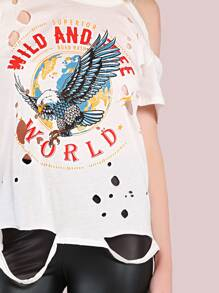 Distressed Wild & Free World Graphic Grunge T-Shirt IVORY pictures