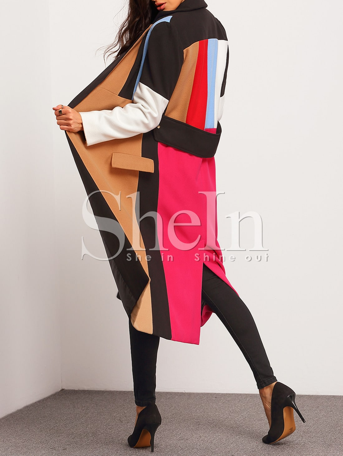 multicolor lapel color block coat sheinsheinside