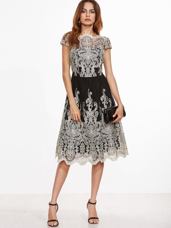 150a0d93be Contrast Fit And Skater Embroidered Mesh Dress | SHEIN UK