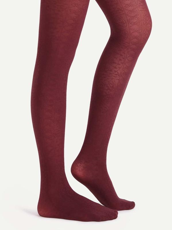 5f3b22aa5 Burgundy Floral Jacquard Sheer Pantyhose Stockings