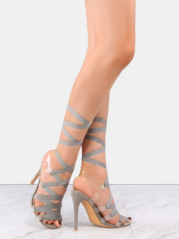 5f7af51ba748 Flat Ribbon Transparent Lace Up Heels GRAY