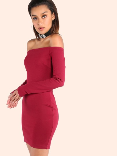 Outfitters garnet Dresses Sleeve Bodycon Shoulder Open Long Plain