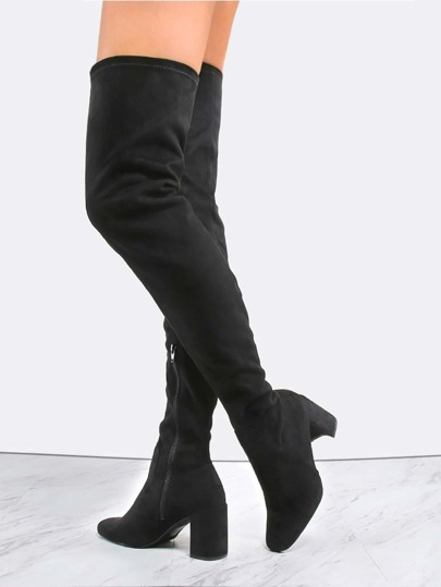 Suede Block Heel Thigh Boots BLACK