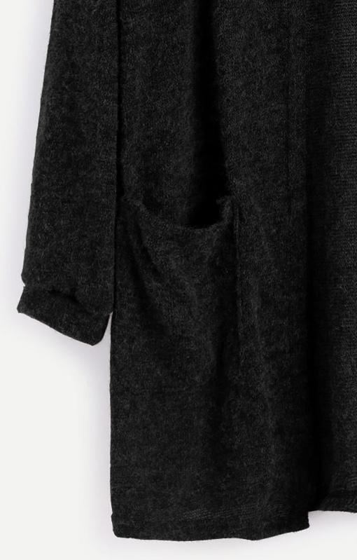 225e05377d95f Fuzzy Strickjacke mit Taschen -schwarz | SHEIN