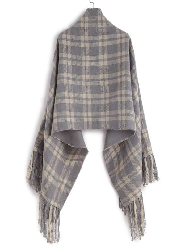 Echarpe châle en écossais avec frange longue - gris -French SheIn(Sheinside) 1bd08b5c0e1