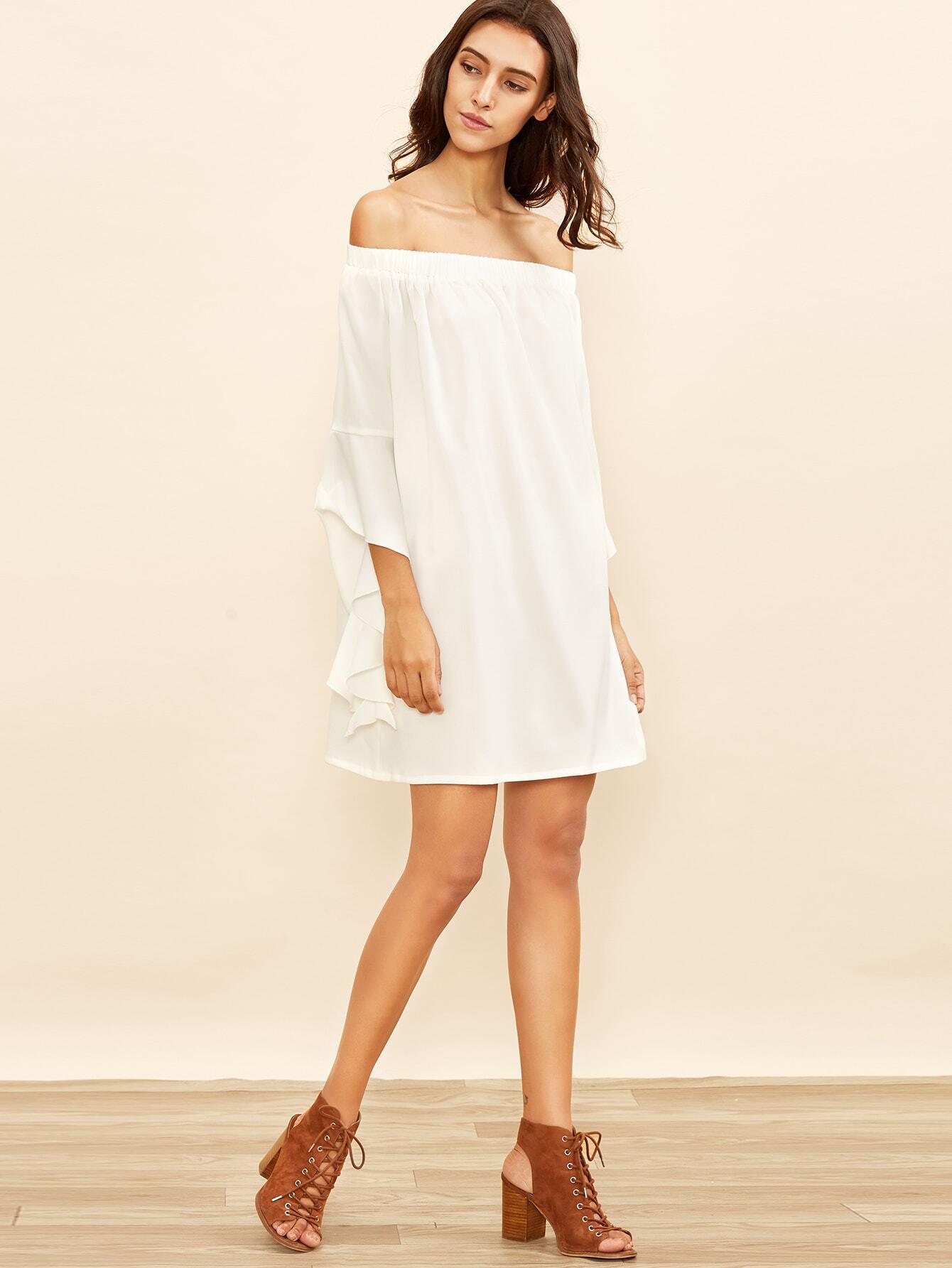 Kleid Schulterfrei Rüschen Ärmel-weiß | SHEIN