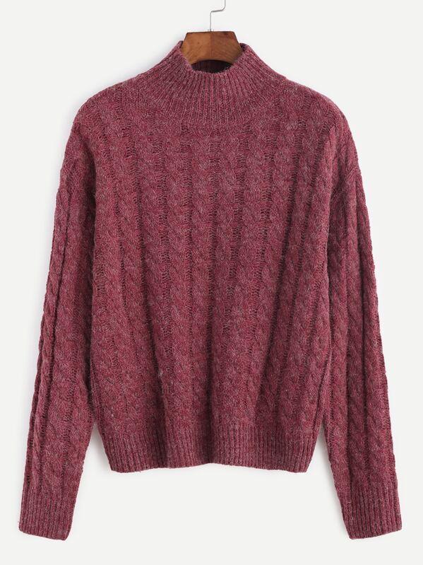 Burgundy Mock Neck Cable Knit Sweater Sheinsheinside