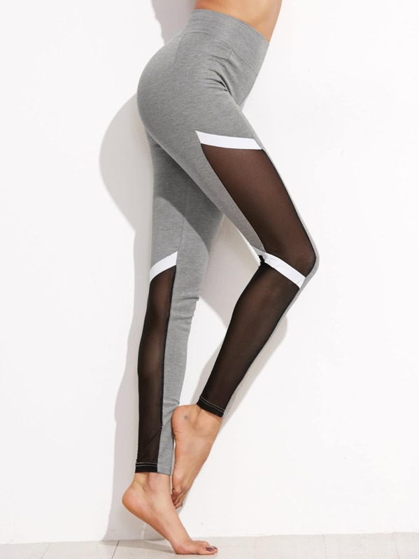 006672e725 Color Block Mesh Insert Leggings