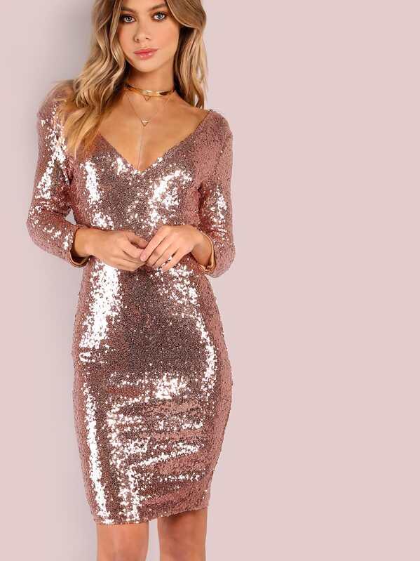 05ad4bd41b Vestido ajustado de manga 3 4 escote V con lentejuelas - dorado rosa ...