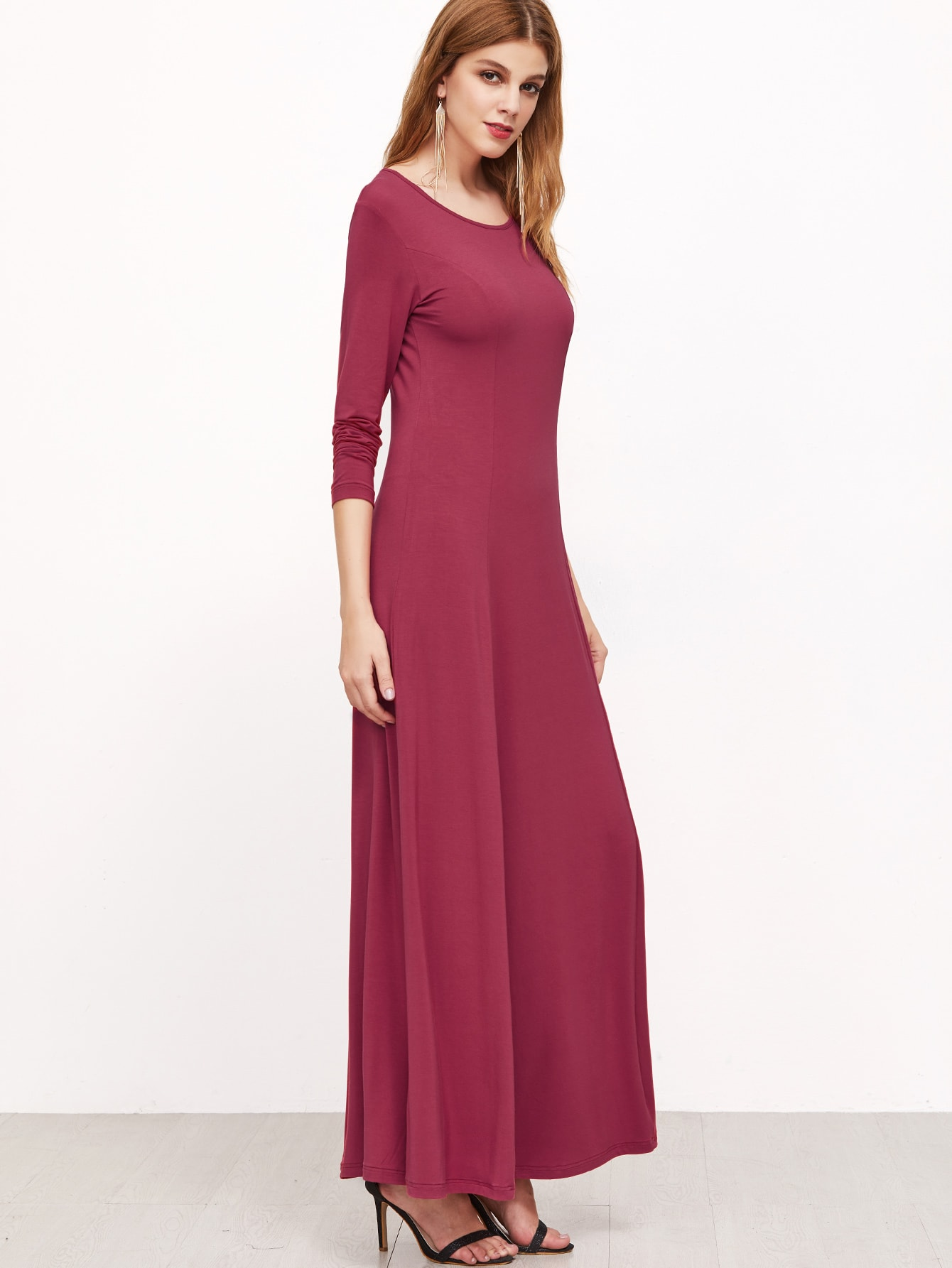 Hot Pink Long Sleeve A Line Maxi Dress -SheIn(Sheinside)