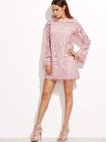 Pink Crochet Pom Pom Trim Long Sleeve Dress Shein