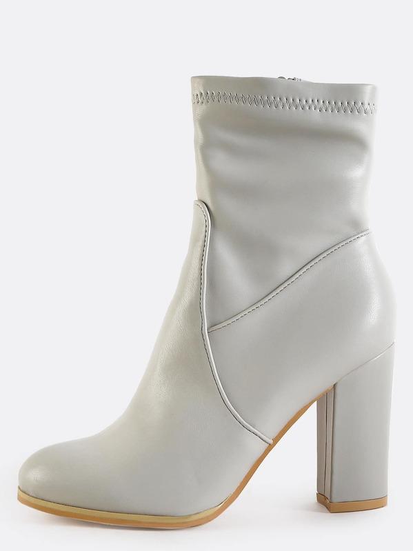 dfc0c3dd1e2a4 High Shaft Chunky Heel Booties LIGHT GREY | SHEIN