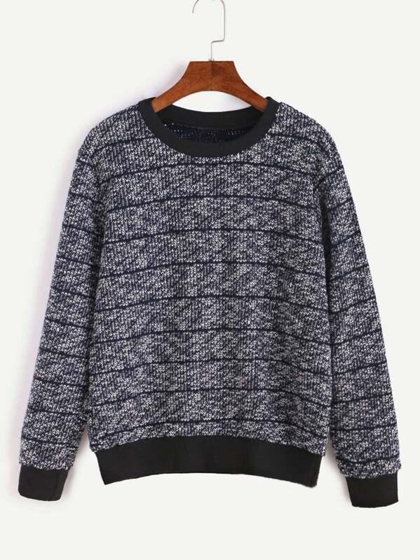 fcb8c69184 Contrast Ribbed Trim Striped Sweater