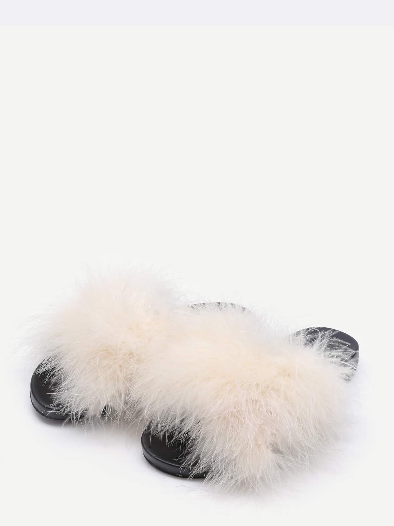 Beige Open Toe Faux Fur Slippers