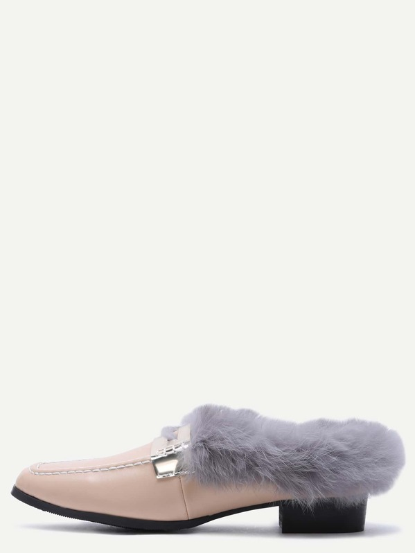 e5b8bfbc3d0 Apricot Square Toe Faux Fur Lined Shoes