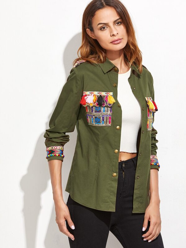 58b408897627f Olive Green Blouse With Embroidered Tape And Tassel Detail