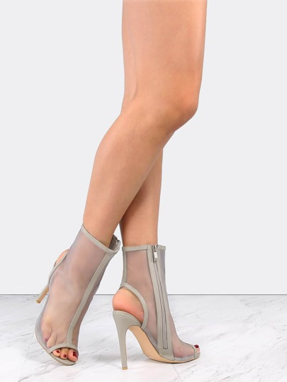 Stiletto Mesh Ankle Booties GREY