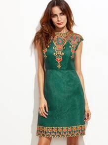 248e379643ca Vintage Print Cap Sleeve Jacquard Dress | SHEIN
