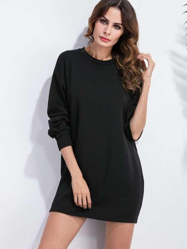 212abc3470984 Robe sweat-shirt col rond - noir -French SheIn(Sheinside)