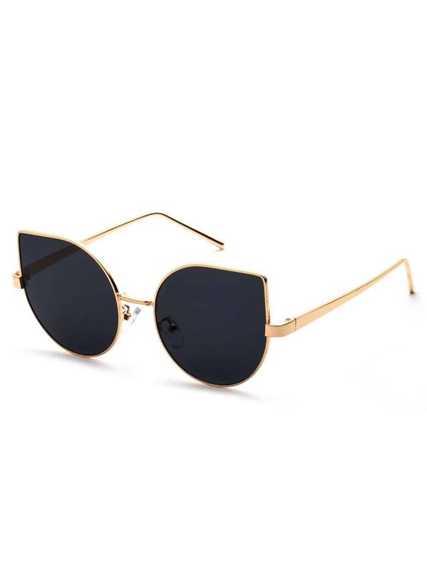Metal Frame Black Cat Eye Sunglasses -SheIn(Sheinside)