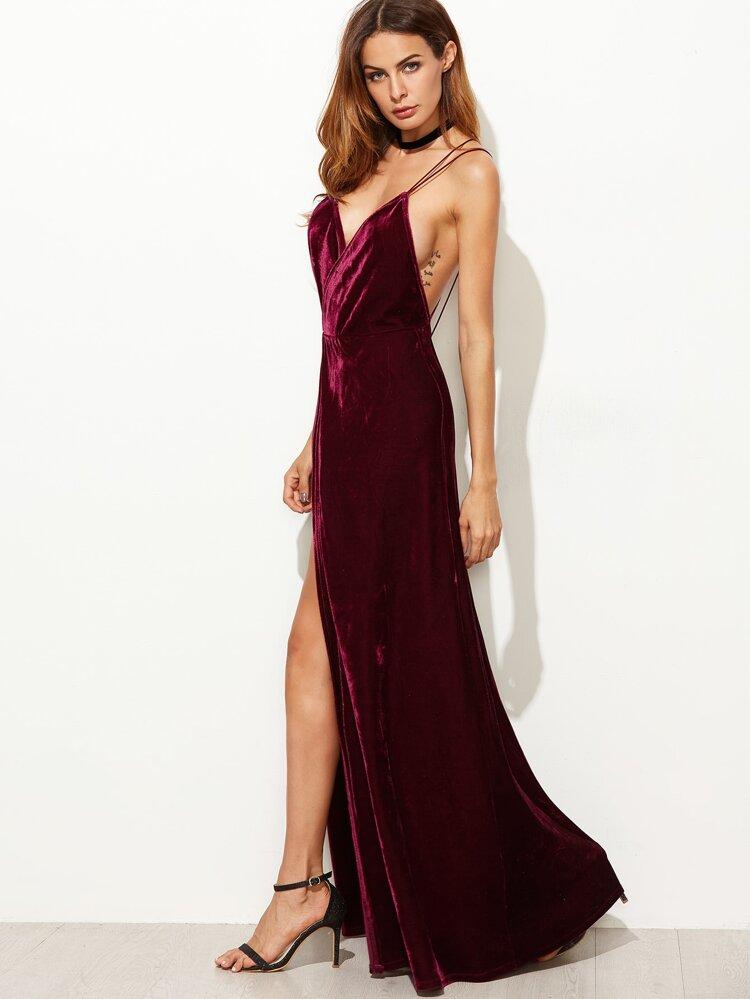 808536f775 Strappy Back High Split Surplice Velvet Dress | SHEIN